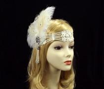 wedding photo - GATSBY Flapper Feather Headband, 1920s Flapper Headpiece, Roaring 20s Headpiece, bridal wedding headband, Art Deco Headband