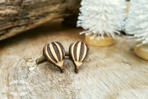 wedding photo - Hot air balloon Wooden Cufflinks Hotair Dad Grooms Groomsman Rustic Wedding Birthday Gift Cuff links