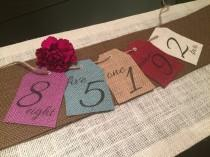 wedding photo - Burlap Table Numbers - Variety of Colors - Hung with Twine - Wedding Table Number - Rustic Table Number
