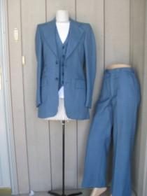 wedding photo - 1970s-80s Mens/Young Mens Blue 3 Piece Pinstripe Suit/Mens Suits/ Blue Vest/Wide Leg Trousers/ Slim Cut Suitcoat/Vtg 3 Piece Suits Size XS-S