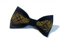 wedding photo - Gift for him Mens gift Black gold satin bow tie with embroidery Husband gift Brother gift Black gold wedding Groomsmen gifts Gifts for him
