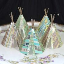 wedding photo - Edible Teepee's 3D x 5 Native Tribal Boho Tipi Wafer Paper Bohemian Wedding Cake Decorations Wild One Rustic Birthday Cupcake Cookie Toppers