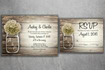wedding photo - MASON JAR Baby's Breath Flowers Rustic Wedding Invitation Set Printed, Cheap Wedding Invitations, Unique, Custom Invitations, Affordable