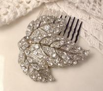 wedding photo - Antique Art Deco/Nouveau Bridal Hair Comb, Vintage Wedding Dress Clip Rhinestone Silver Leaf Hairpiece, 1920s Hair Piece Rustic Chic Country