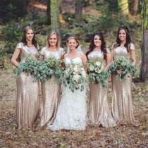 wedding photo - Rose Gold Sequin Long Bridesmaids Dress