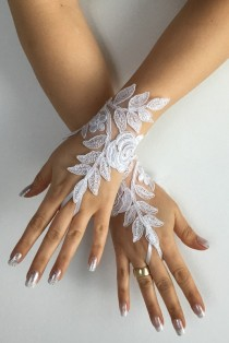 wedding photo -  FREE SHIP White Wedding gloves bridal gloves lace gloves fingerless gloves french lace gloves,handmade