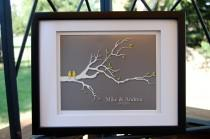 """wedding photo - Wedding Gifts, First Anniversary Gift Paper, Love Birds, Bridal Shower Gift, Gifts for Couples, Gift for Wife 8""""x10"""" (yellow/gray)"""