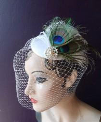 wedding photo - Bridal Hat, Peacock Feather Fascinator, Ivory Birdcage Veil, Pearl Wedding Veil, Blusher Veil, Unique Bridal Veil, Victorian Wedding Veil