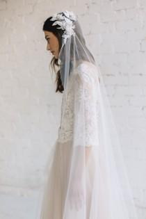 wedding photo - Bridal Veil, Juliet Cap Veil ,Lace Wedding Veil, Chapel Cathedral Veil, Wedding Cap Veil, Ivory Veil, Bohemian Veil, 3D Floral Veil - Grace