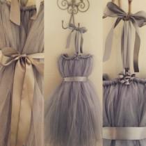 wedding photo - Flower Girl Dresses, Tulle Flower Girl Dress, Tutu Flower Girl Dress, Any Color Dress, Gray tulle