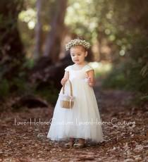 wedding photo - Ivory Flower Girl Dress, White or Ivory Flower Girl Dresses, Ivory Tulle Dress, Custom Color Sash (Quick Ship)