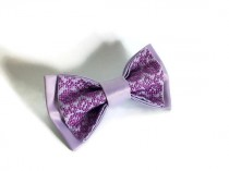 wedding photo - Lilac satin bow tie For wedding lavender Graduation tie Boyfriend anniversary gifts From sister to brother Him lilac necktie Groom's hjertyw