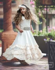 wedding photo - Flower Girl dresses, boho flower girl dress, rustic flower girl dress, Beach Flower girl dress Ivory champagne, flower girl dress country