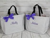 wedding photo - 11 Personalized Bridesmaid Tote Bags, Bridesmaid Gift, Personalized Bridesmaid Tote, Wedding Party Gift, Name Tote