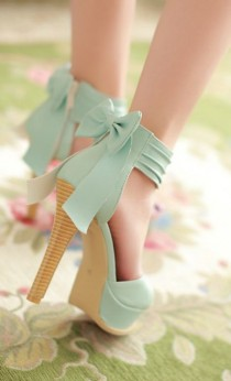 wedding photo - Stylish High Heel Ankle Strap Blue