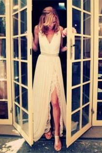 wedding photo - Charming Ivory Lace Long Beach Wedding Dress S10
