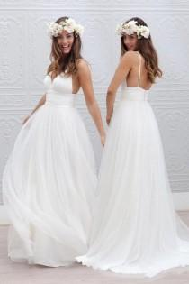 wedding photo - Simple V-neck Floor-Length Wedding Dress With Ruched Sash WD054