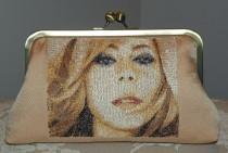 wedding photo - Mariah Carey Clutch Bag Purse Embroidered Silk Golden Peachy Tan Kimono Fabric..Wedding/Bridal Gift..