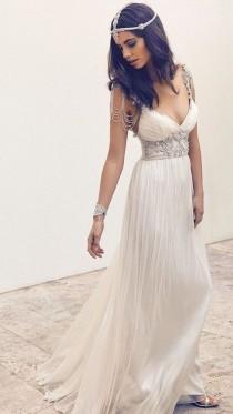 wedding photo - Cap Sleeve Beach Wedding Dresse, Rhinestone Prom Dress, Unique Beach Wedding Gown, Dresses For Prom, Chiffon Wedding Dress, 16135