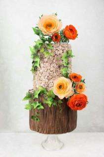 wedding photo - Rustic Flower Cake