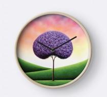 wedding photo - Purple Tree Wall Clock, Wood Framed Clock, Whimsical Tree Art Circle Clock, Colorful Office Decor, Modern Circular Hanging Pretty Clock