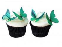 wedding photo - Edible Cake Toppers - EDIBLE BUTTERFLIES in 24 Green - Cupcake Toppers, Butterfly Cake Decorations, Wedding Cake Toppers