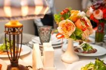 wedding photo - Orange wedding centerpieces Wedding flower decoration Ranunculus Peonies Rowan David Austin roses Artificial roses Faux flowers arrangement
