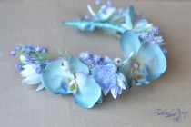 wedding photo - Beach bridal crown Light blue wedding flower crown Orchid hair Wreath Bridal floral headpiece Blue floral crown Orchids hair dress