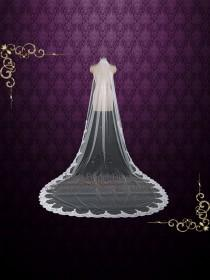 wedding photo - One Layer Chapel Wedding Veil with Lace from Midway, Lace Wedding Veil, Long Lace Veil, Single Tier Veil