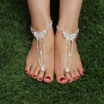 wedding photo - Butterfly Rhinestone Wedding Barefoot Sandals