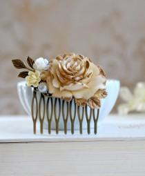 wedding photo - Bridal Hair Comb Gold Ivory Rose Shabby Chic Ivory Flower Antique Gold Leaf Country Wedding Rustic Wedding Hairpiece Bridal headpiece