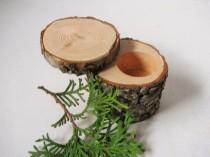 wedding photo - One economy Log ring box. Engagement ring box made from douglas fir wood. Gift for her. Wedding gift.