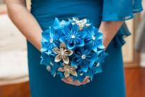 wedding photo - Something Blue Paper Flower Wedding Bouquet- bridal, bridesmaid, origami, round bouquet, made to order, one of a kind, non traditional