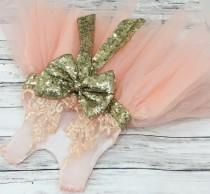 wedding photo - Embellished blush pink Gold Girl Dress, Flower girl dress, junior bridesmaids dress, newborn infant dress, lace flower girl dresses