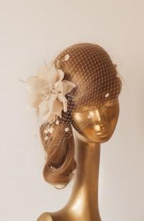 wedding photo - Champagne BIRDCAGE VEIL with Champagne-Cream Flower, Vintage Style Bridal FASCINATOR