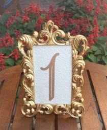 wedding photo - Table number frames 4 x 6 gold wedding frames ornate baroque style