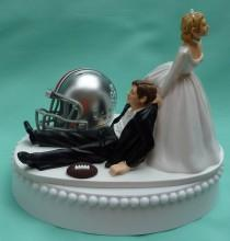 wedding photo - Wedding Cake Topper Ohio State St. University Buckeyes OSU Football Themed w/ Garter Unique Original Bride Groom College Sports Fans Funny