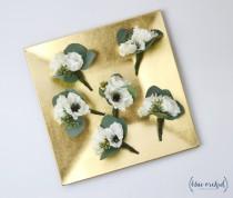 wedding photo - Boutonniere Set, Set of Boutonnieres, Silk Boutonnieres, Anemone Boutonniere, Wedding Flower Set, Groom Boutonniere, Silk Flowers, Anemones
