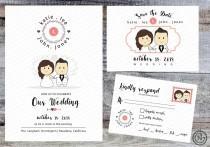 wedding photo - Portrait Wedding Invitation (White) Printable Invites Rustic Cute Fun Anime Cartoon Style Kawaii - Custom Invitation RSVP Save the Dates