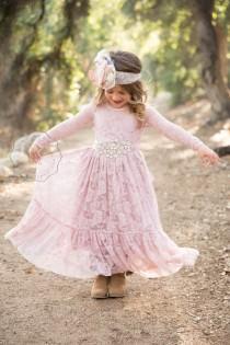 wedding photo - dusty rose flower girl dress, lace flower girl dresses, mauve lace dress, baby dress, long sleeve dress, toddler, baby girl, country, rustic