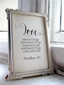 wedding photo - Wedding Quotes for the Bride and Groom, 1 Corinthians 13:7,  Scripture Print,  Wedding Quotes and Poems, Inspirational Quote Christian BD597