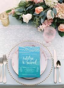 wedding photo - Printed Card - Digital Printable Files Turquoise Teal Blue Sea Sand Beach Watercolor Painting Wedding Invitation Wedding Stationery ID675