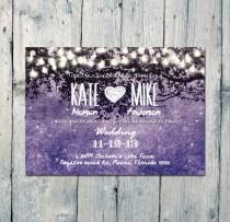 wedding photo - Printed Card - Digital Printable Files - Purple Romantic Garden and Night Lights Wedding Invitation RSVP Thank You Invitation Set ID210MPP