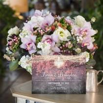 wedding photo - Printed Card - Digital Printable Files - PINK Brighten Night Shining Chandelier Wedding Invitation RSVP Thank You Invitation Set ID403PNK
