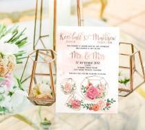 wedding photo - Printed Card - Digital Printable Files - ROSE GOLD Floral Geometric Wedding Invitation and RSVP Card Modern Wedding Wedding Stationery ID905