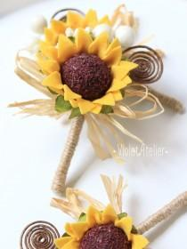 wedding photo - 3 Rustic Sunflower Boutonnieres, Set of 3 Groom and Groomsmen Boutonnieres, Sunflower Wedding Accessories, Sunflower Brown Swirl Buttonholes