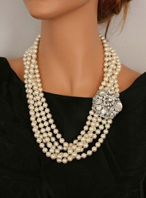 wedding photo - Items Similar To CLAUDIA  Old Hollywood Style Pearls  Necklace On Etsy