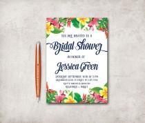wedding photo - Tropical Bridal Shower Invitation Printable, Tropical Birthday Invitation, Beach Floral Bridal Shower, Hawaiian Bridal Shower Invite