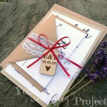 wedding photo - Custom Wedding Invitation Set with Wood Tag, Lace & Satin Tie