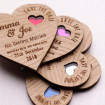 wedding photo - Wood Save the date,  Wooden save the dates, Rustic Save the date ,Heart wedding magnets, coloured heart save the date